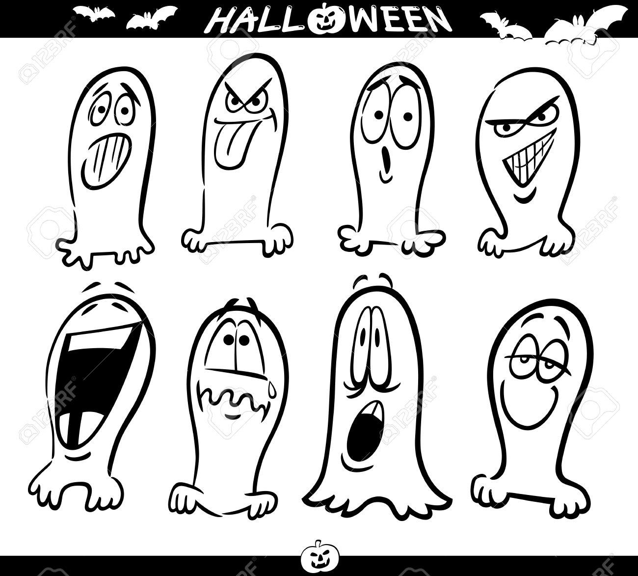 Ilustración De Dibujos Animados De Temas De Halloween, Fantasmas Set ...