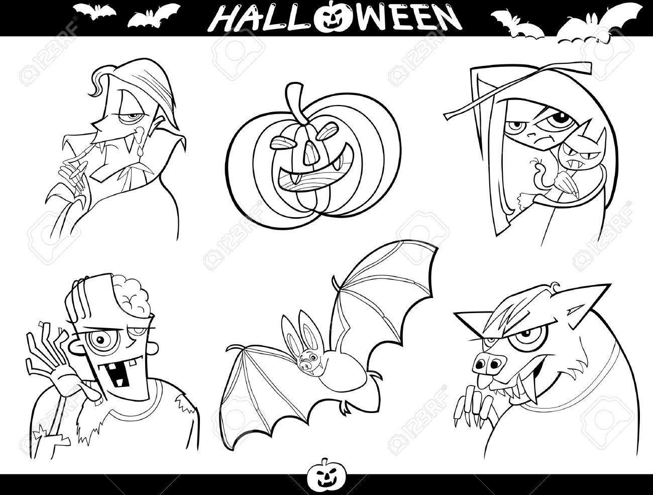 Foto de archivo , Ilustración de dibujos animados de Halloween Themes, vampiro, zombi, bruja, hombre lobo, la calabaza y set Bat divertido para colorear