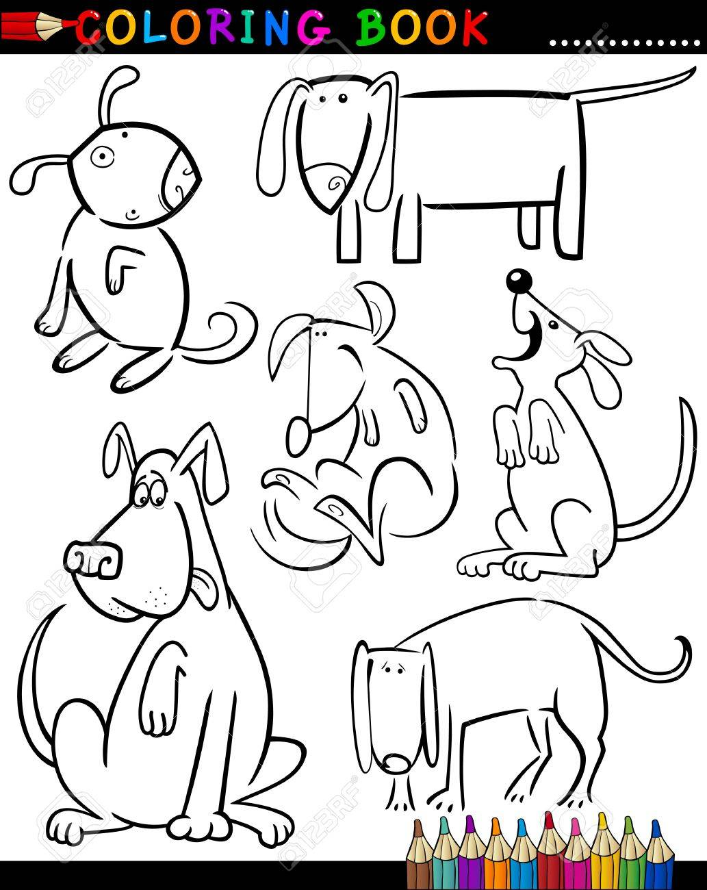 Coloring Book Or Page Cartoon Illustration Of Funny Dogs And ...
