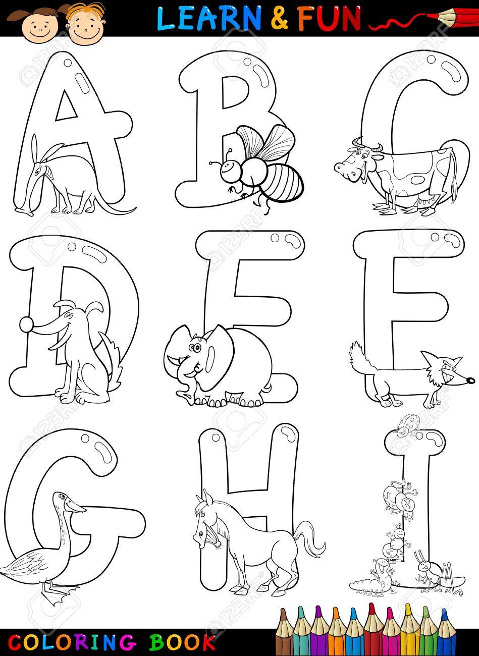 Cartoon Alphabet Coloring Book or Page Set with Funny Animals..