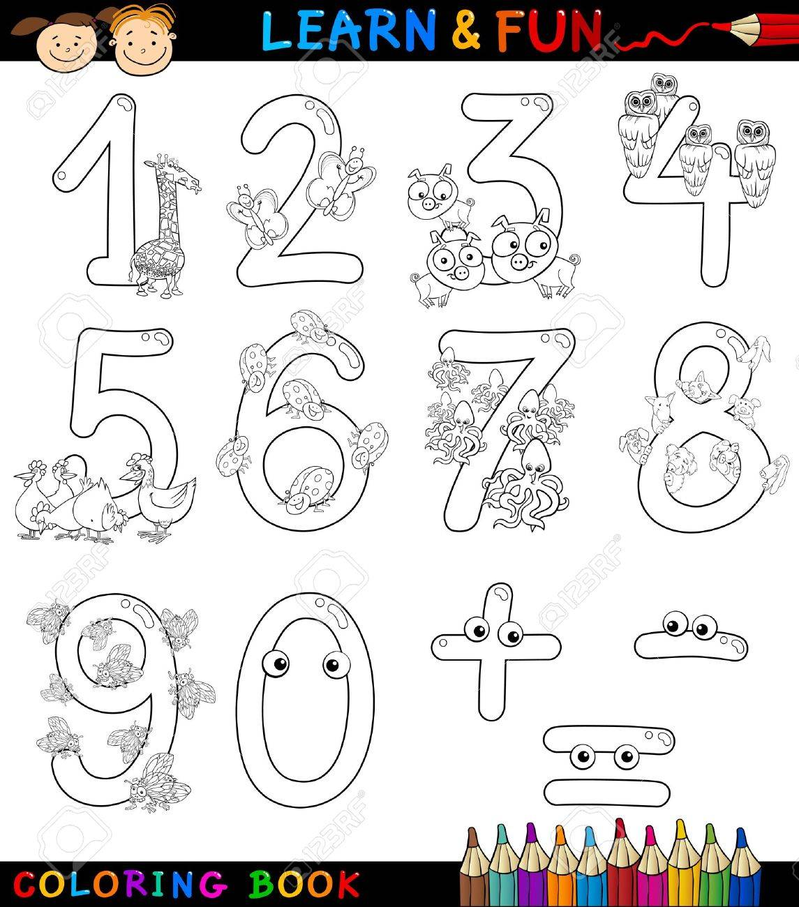 Cartoon Coloring Book Or Page Illustration Of Numbers Signs From Zero To Nine With Animals Characters