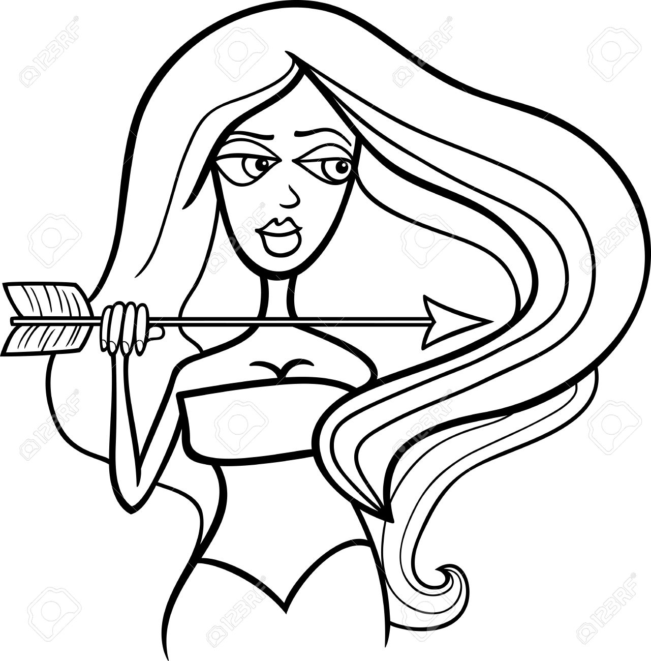 illustration of beautiful woman cartoon character with arrow