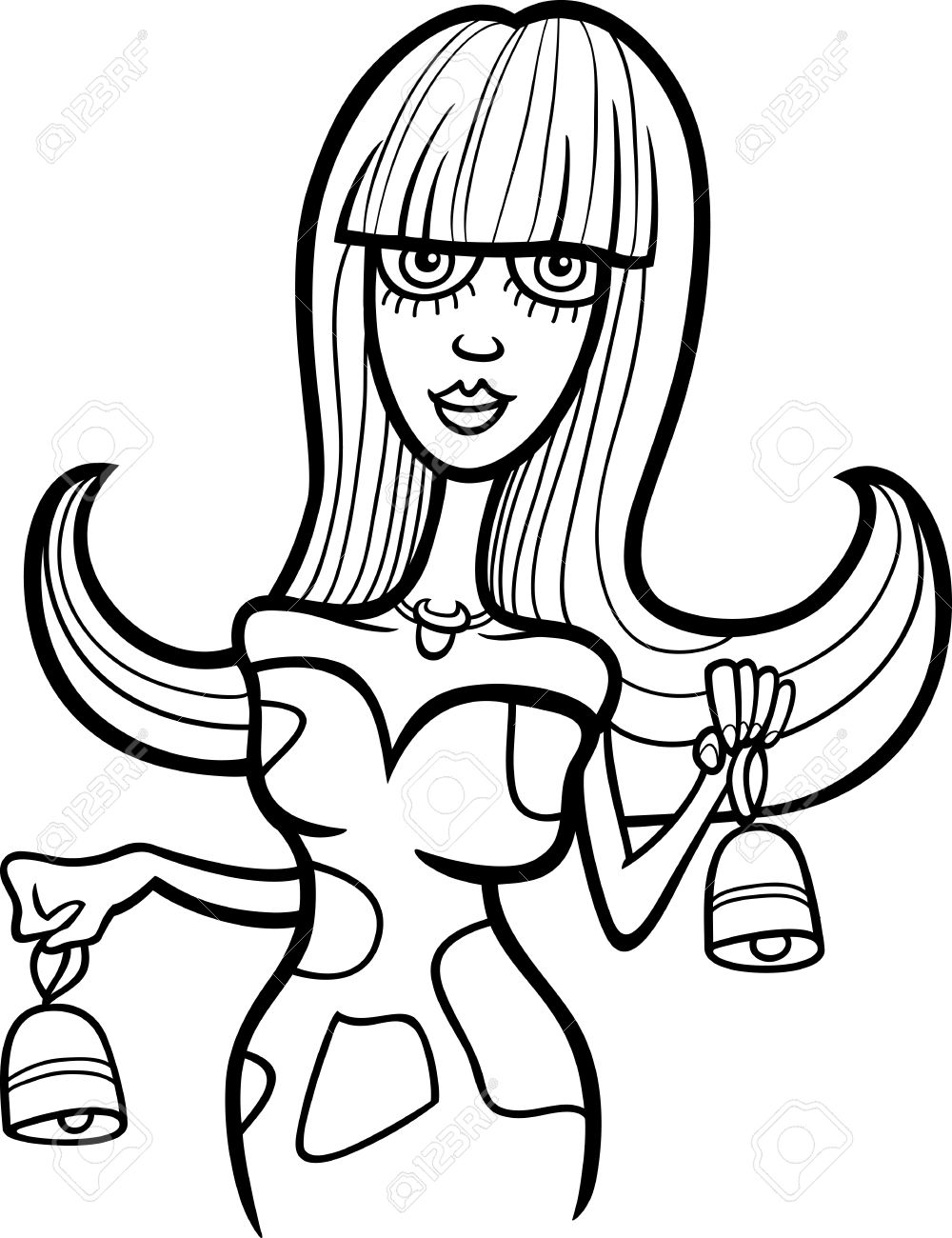 Illustration of Beautiful Woman Cartoon Character with Cow Bells or Taurus Horoscope Zodiac Sign for coloring Stock Vector - 15805599