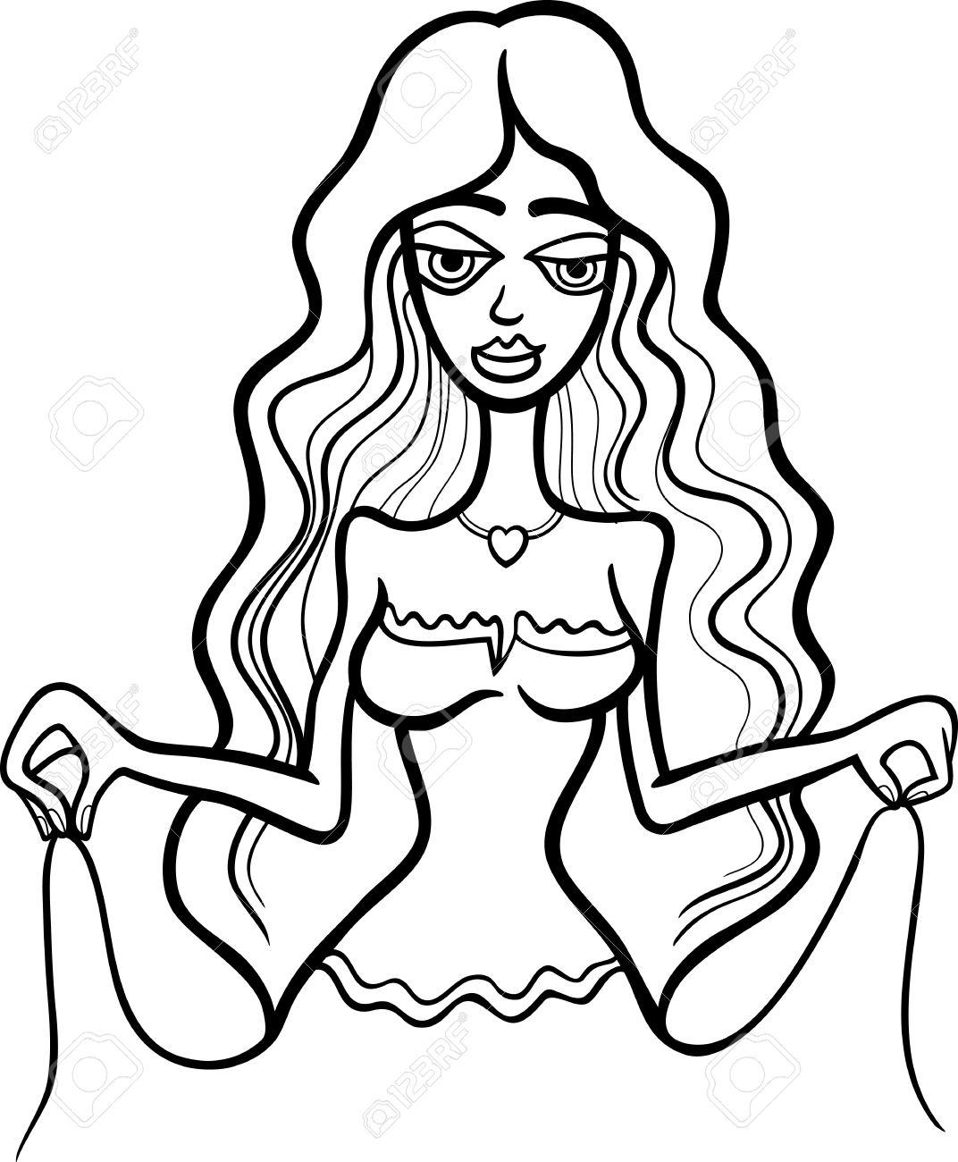 Ilustración Del Personaje De Dibujos Animados Hermosa Mujer Con ...