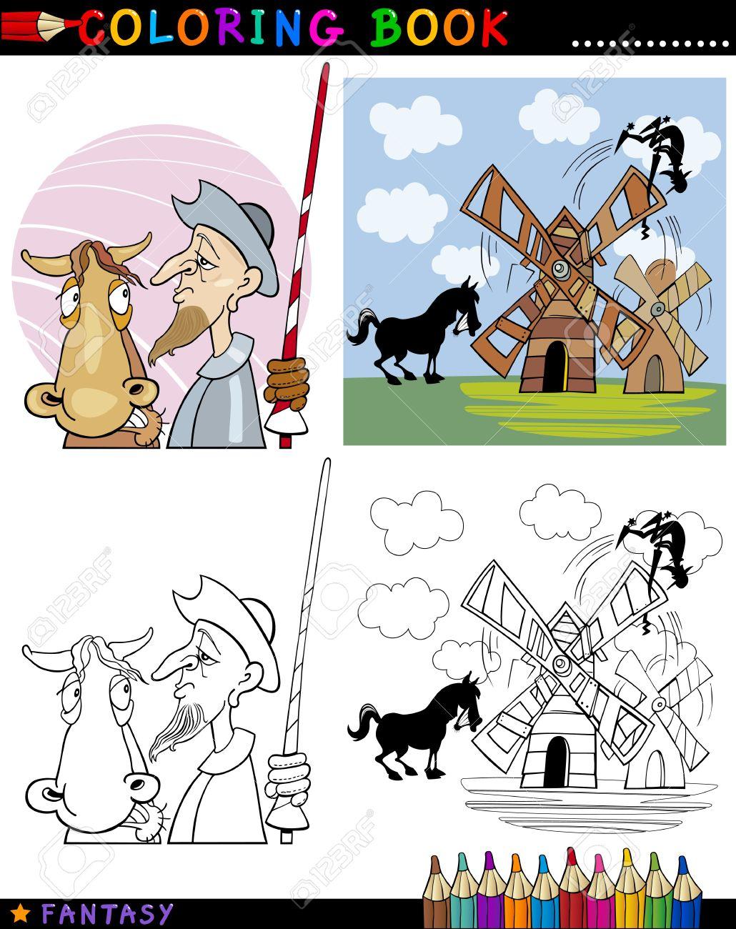 Libro Para Colorear O Ilustración De Dibujos Animados Página De Don ...