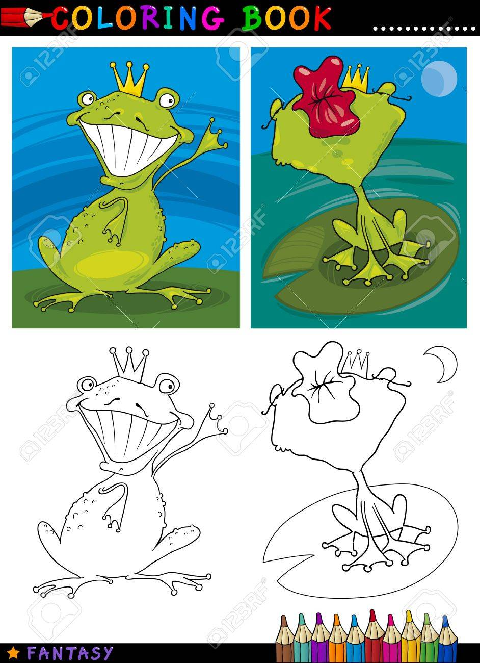 Coloring Book or Page Cartoon Illustration of Frog Prince Fairytale Characters Stock Vector - 15924332