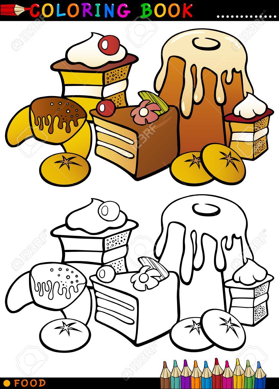 Libro Para Colorear O Ilustración De La Historieta De Página Dulces ...