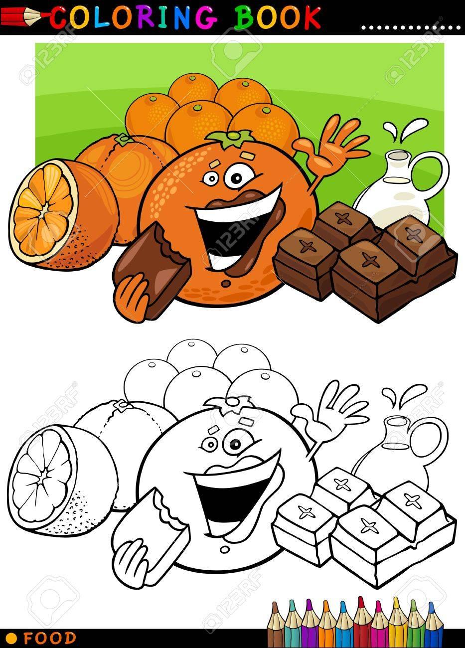 Libro Para Colorear O Ilustración De Dibujos Animados Página De Humor Personajes Alimentación Naranjas Y Piezas De Chocolate Para La Educación