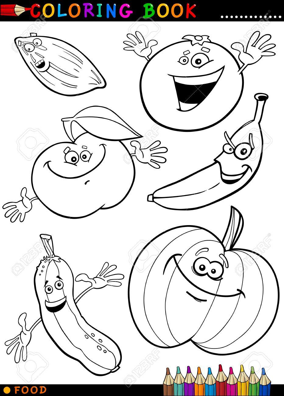 子供の教育のための文字の果物や野菜の塗り絵や面白い食べ物のページ漫画