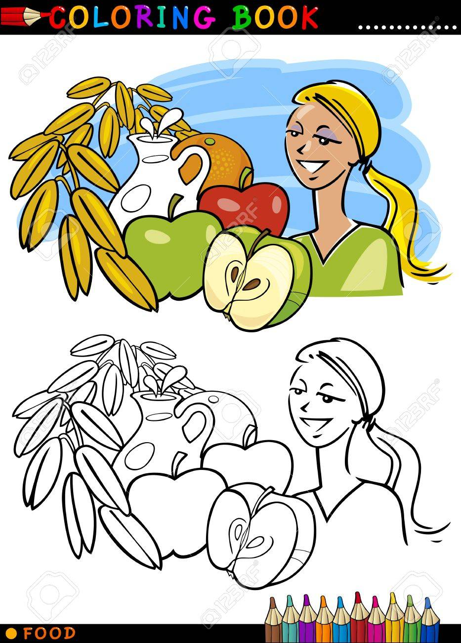 coloring book or page cartoon illustration of healthy breakfast