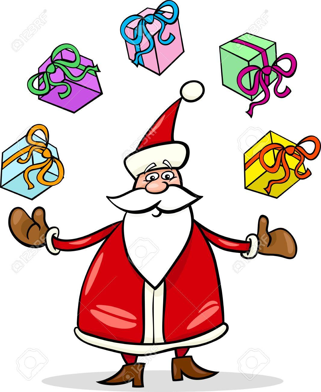 Cartoon Illustration of Funny Santa Claus or Papa Noel juggling Christmas Presents and Gifts Stock Vector - 16002031