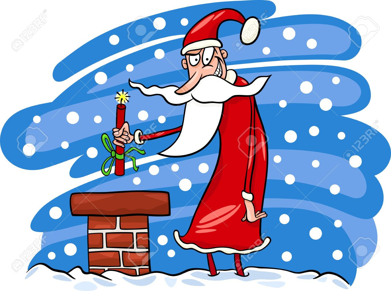 cartoon illustration of malicious funny santa claus or papa noel