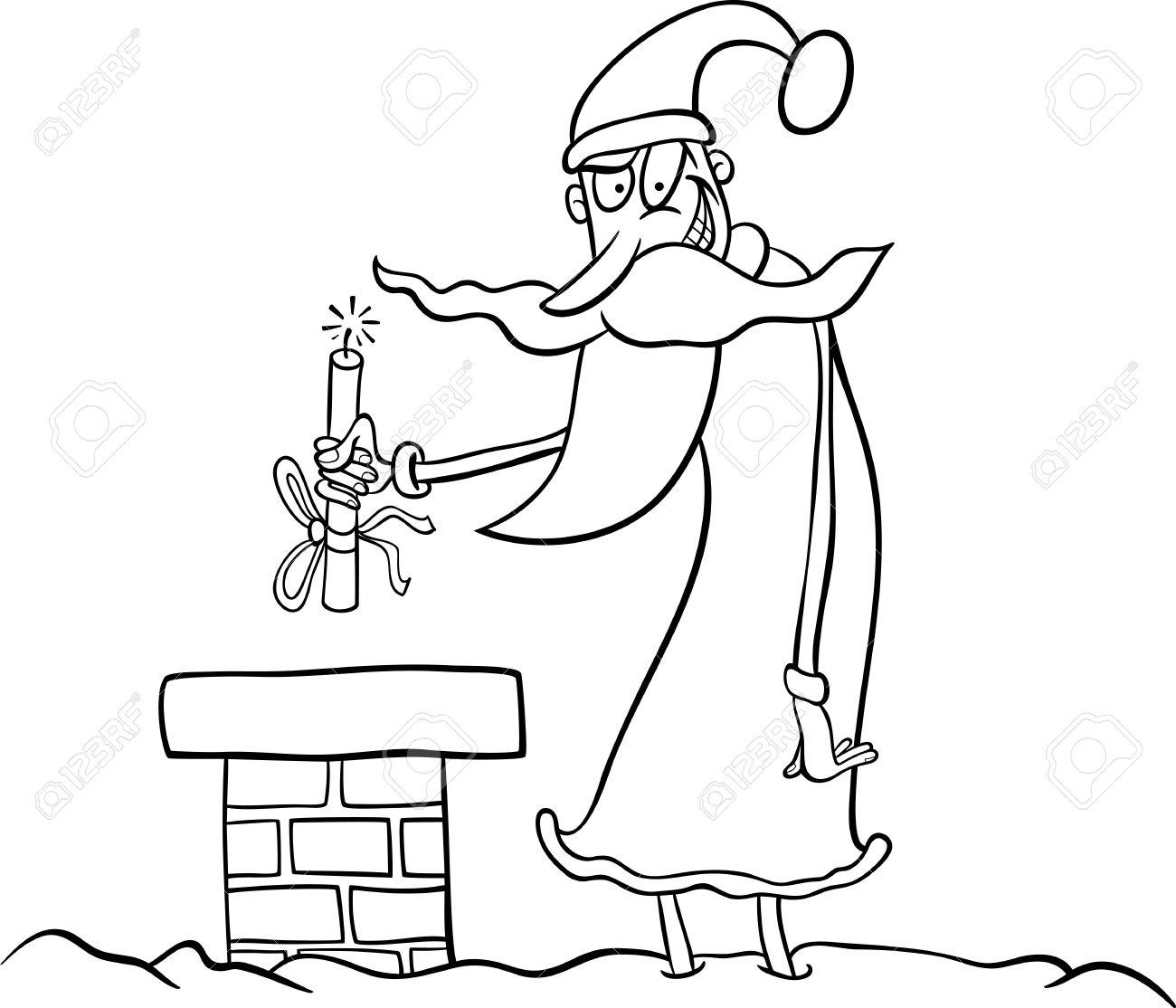 Illustration De Dessin Animé Drôle De Père Noël Ou Papa Noël Sur Le Toit Avec Le Bâton De Dynamite Comme Cadeau De Noël Pour Coloring Book