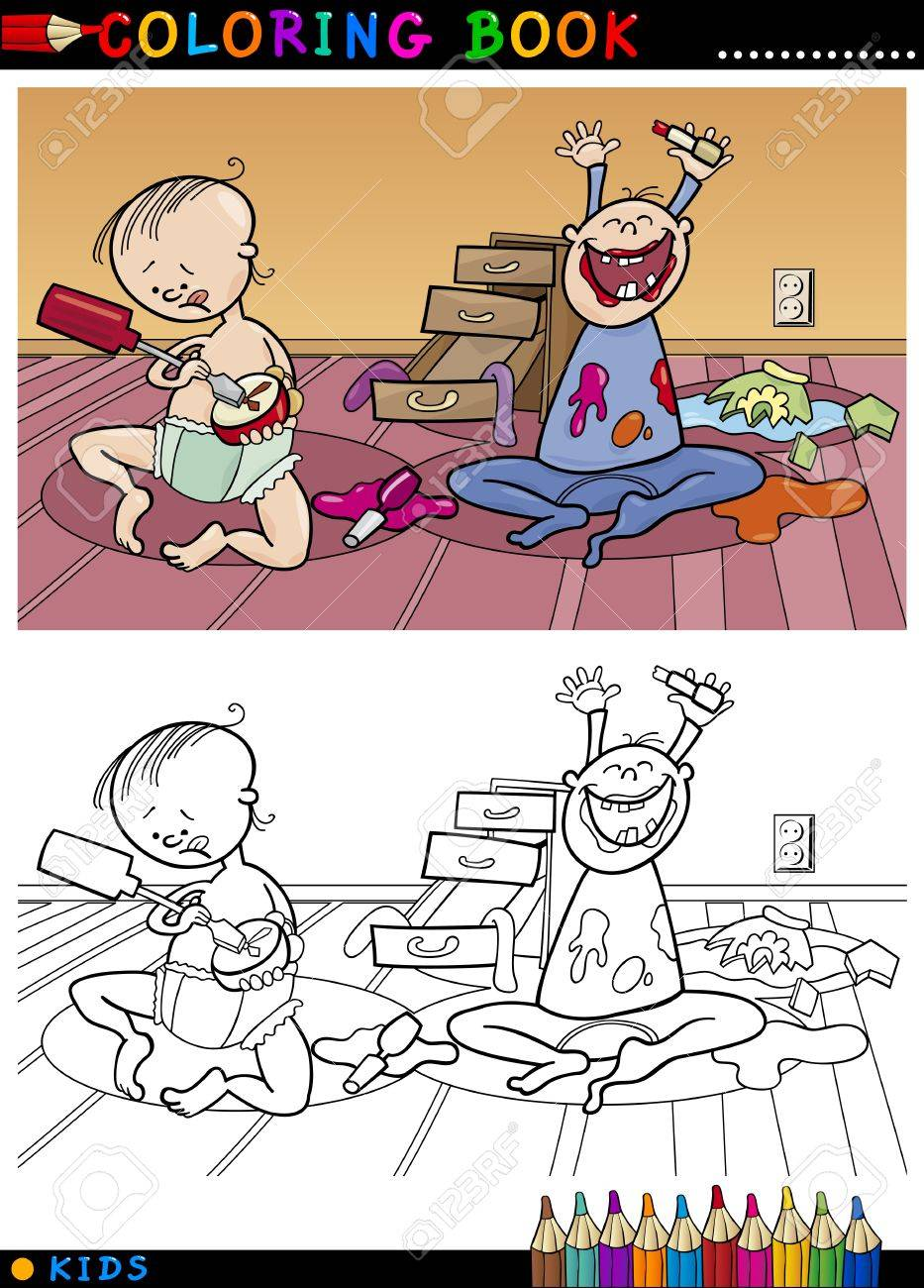 Coloring Book Or Page Cartoon Illustration Of Naughty Cute Babies ...