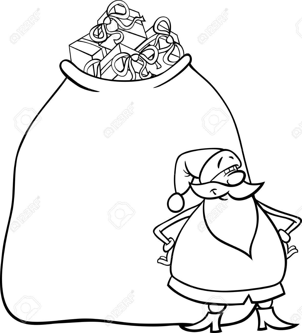 Illustration De Dessin Animé Drôle De Père Noël Ou Papa Noël Avec énorme Sac Plein De Cadeaux De Noël Pour Coloring Book
