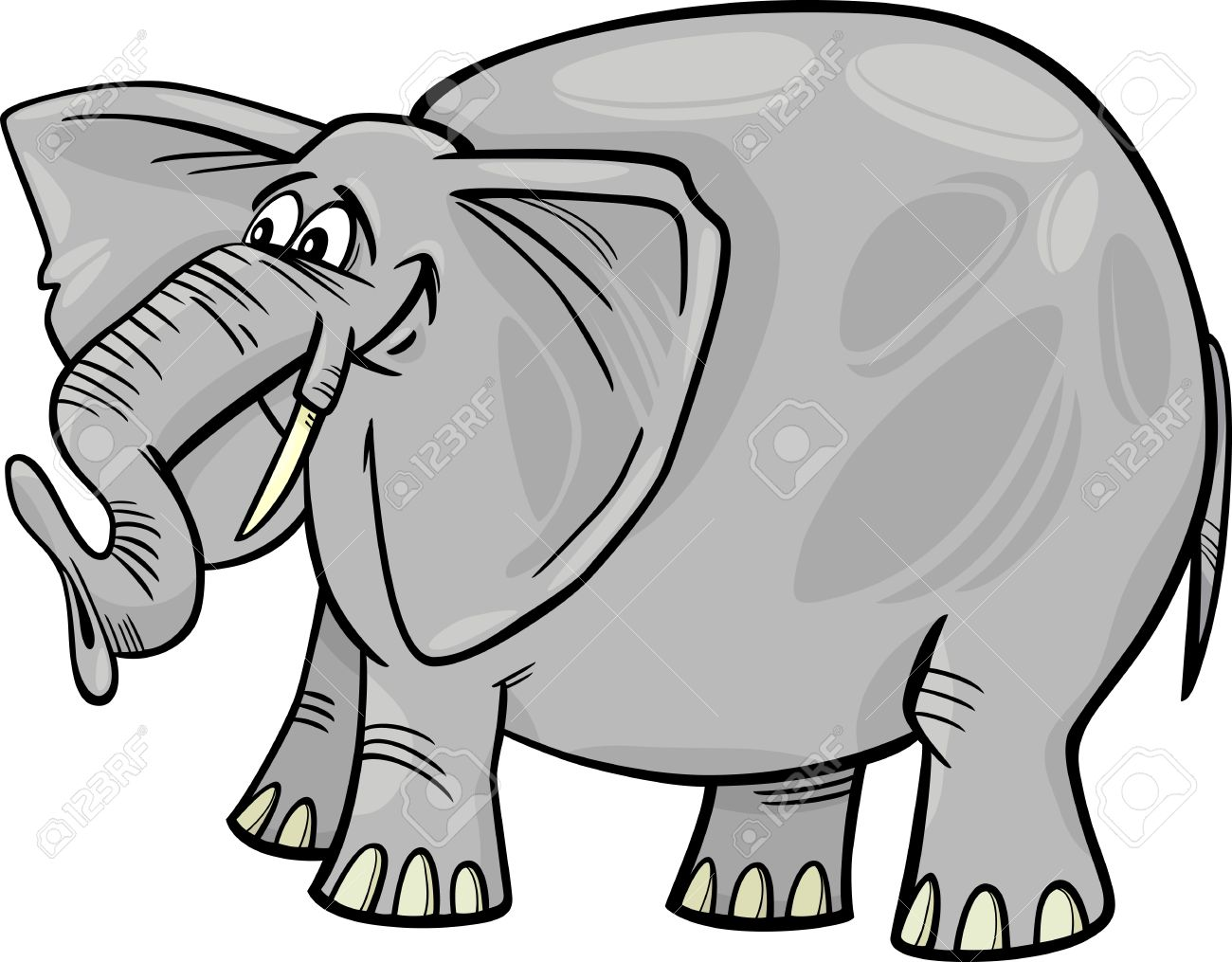 Cartoon Illustration Of Funny Gray African Elephant Royalty Free