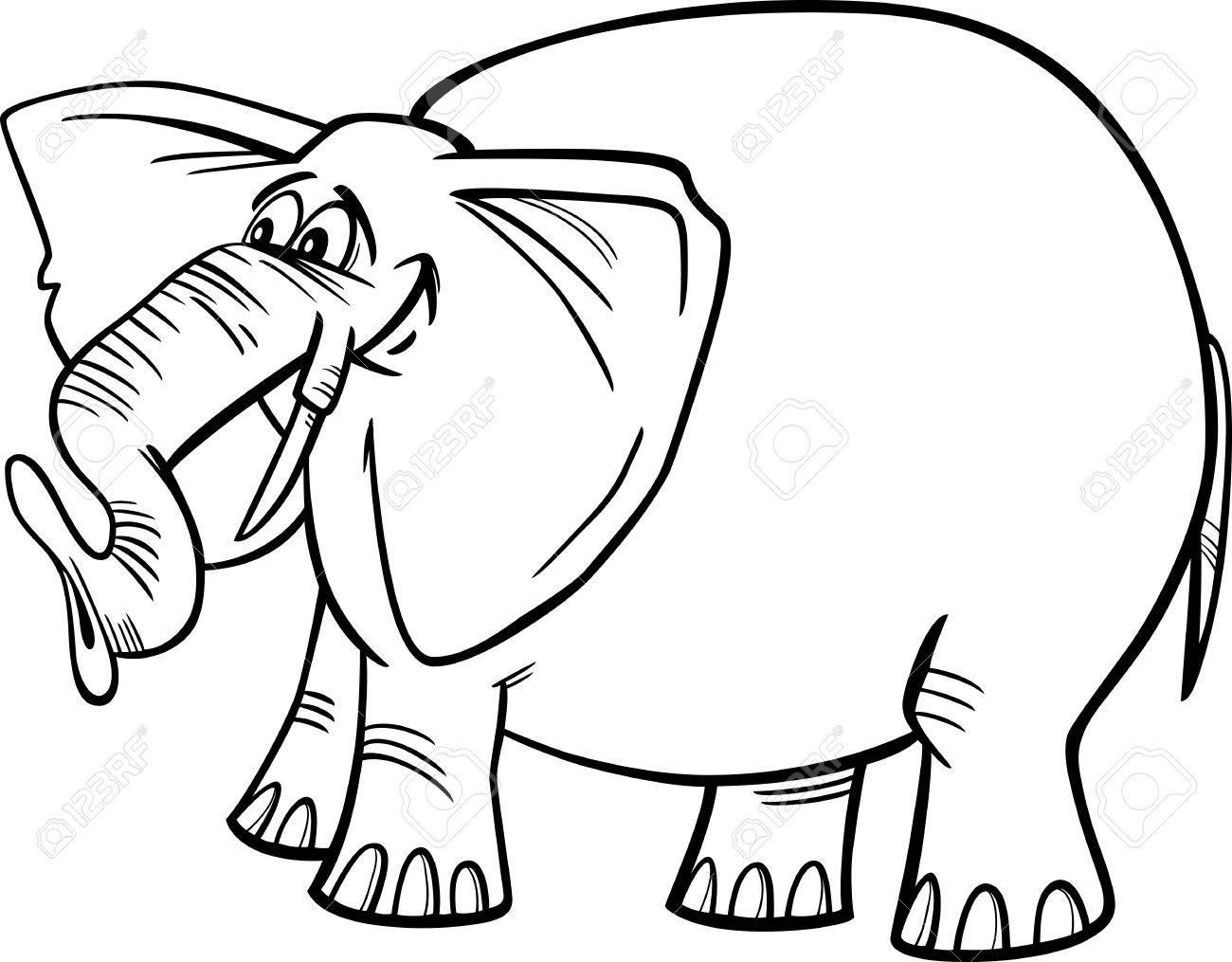 cartoon illustration of funny gray african elephant for coloring