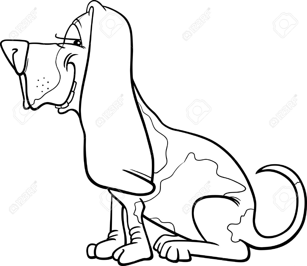 Cartoon Illustration of Funny Purebred Spotted Basset Hound Dog for Coloring Book Stock Vector - 16213936