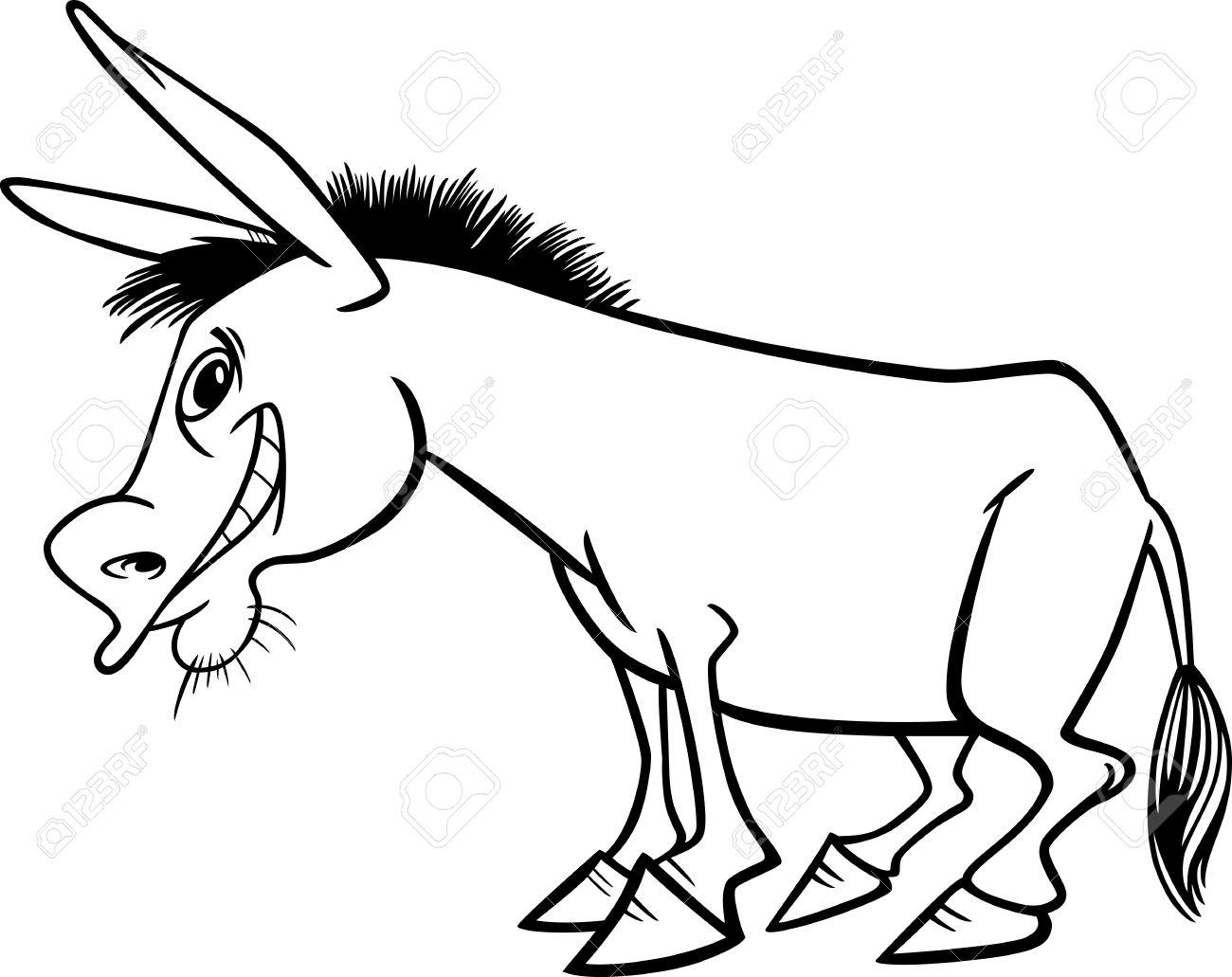 本を着色面白いロバ農場の動物の漫画イラスト ロイヤリティフリー