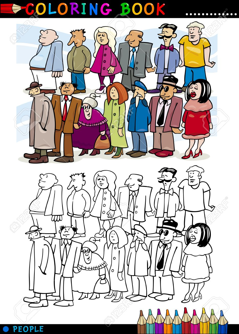 Coloring Book or Page Cartoon Illustration of People Group Staying in Queue Stock Vector - 16213928
