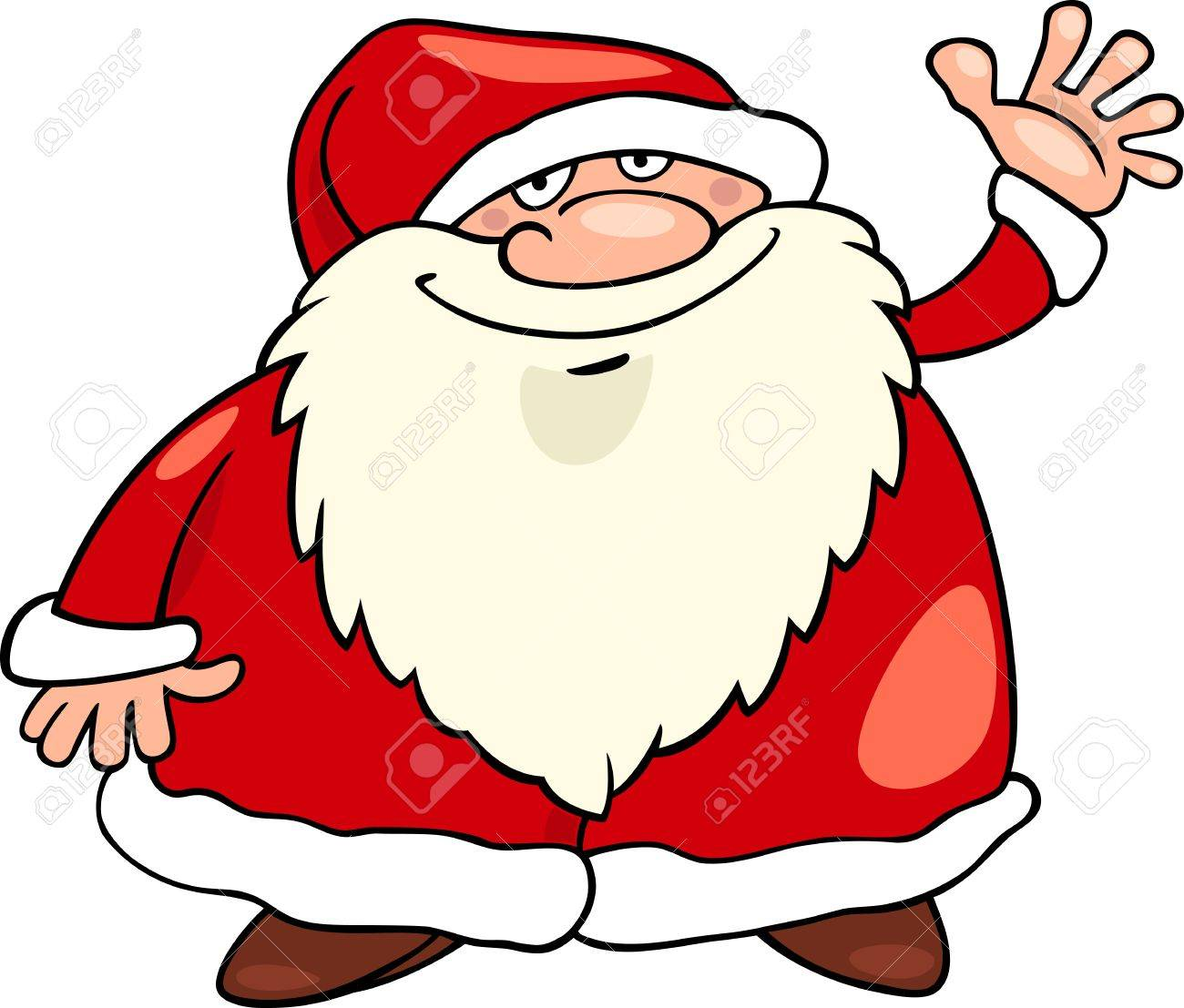 Father Christmas Images Free.Cartoon Illustration Of Funny Father Christmas Or Santa Claus