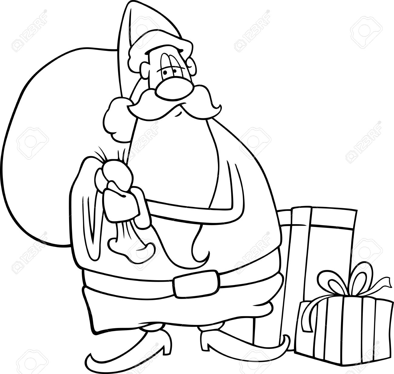 cartoon illustration of funny santa claus or papa noel with sack