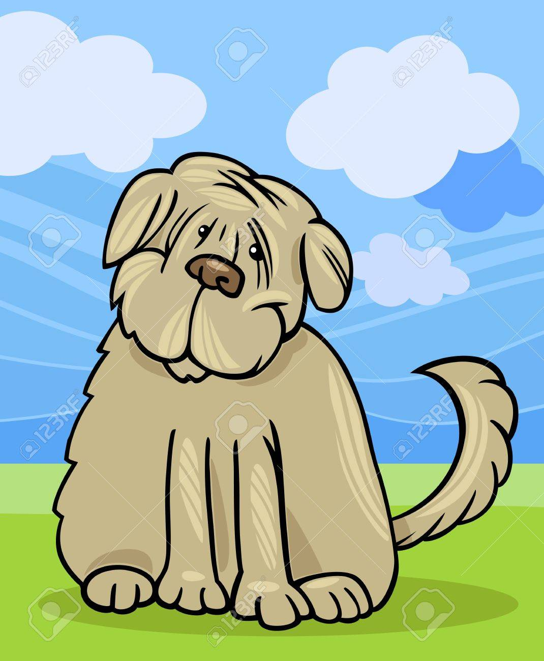Cartoon Illustration of Funny Purebred Tibetan Terrier Dog or Labrador Doodle or Briard against Blue Sky and Green Grass Stock Vector - 16452306