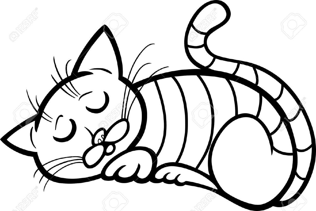 Cartoon Illustration Von Sleeping Tabby-Katze Für Coloring Book ...