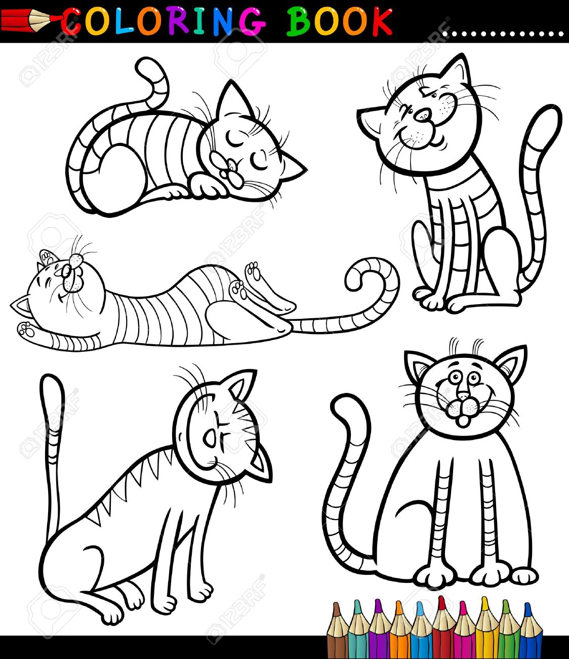 Coloring Book or Page Cartoon Illustration of Funny Cats or Kittens for Children Stock Vector - 16492384