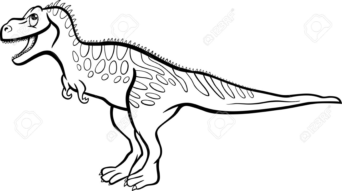 Cartoon Illustration of Tarbosaurus Dinosaur Prehistoric Reptile Species for Coloring Book or Page Stock Vector - 16693417