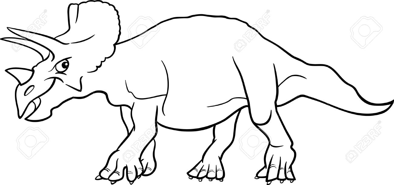 Cartoon Illustration of Triceratops Dinosaur Prehistoric Reptile Species for Coloring Book or Page Stock Vector - 16693421