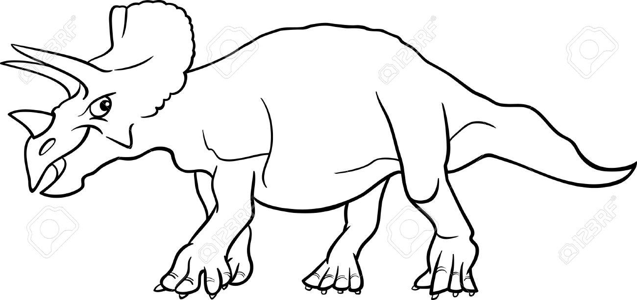 Cartoon Ilustración Del Dinosaurio Triceratops Especies De Reptiles ...