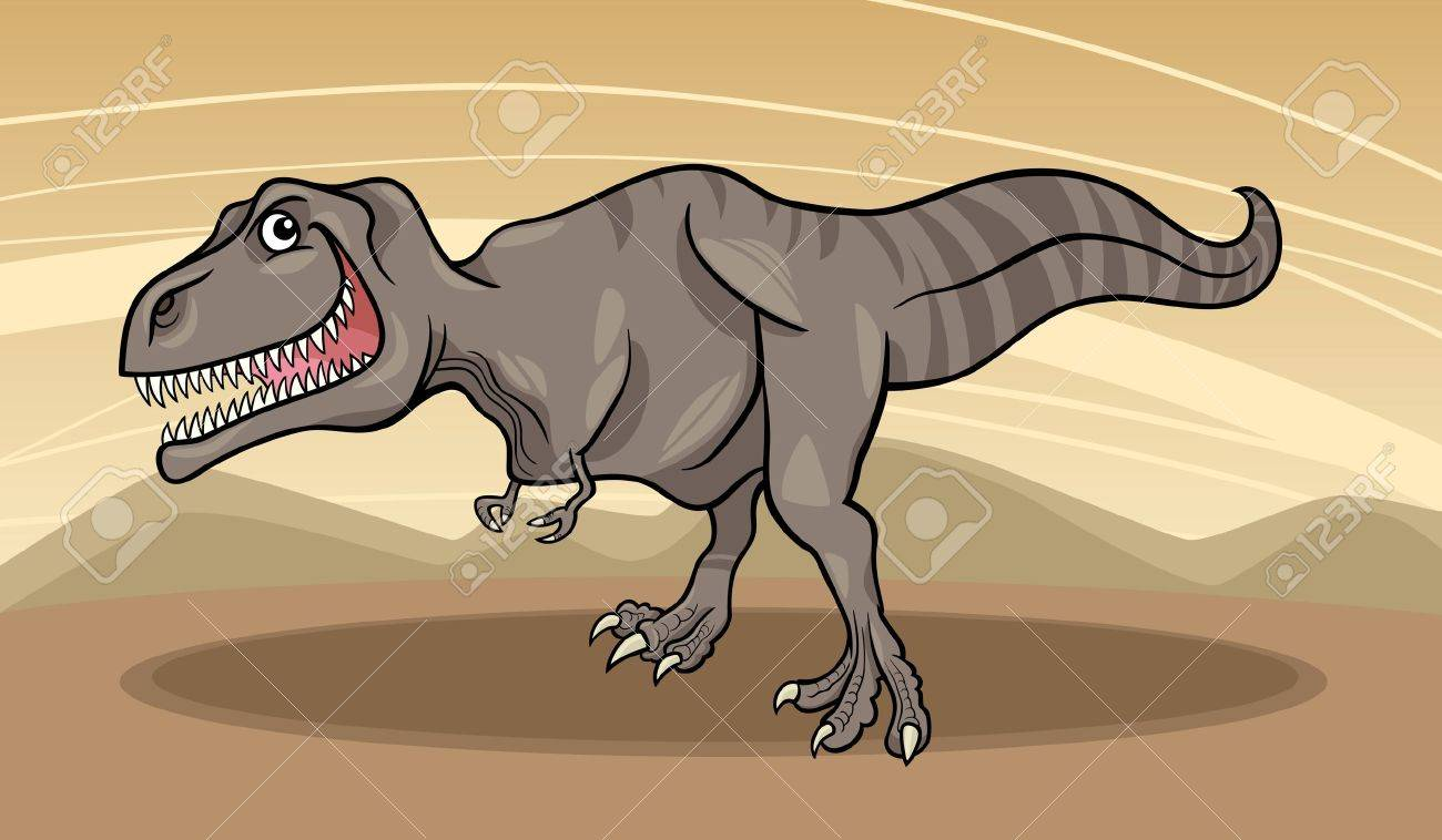 Cartoon Illustration of Tyrannosaurus Dinosaur Reptile Species in Prehistoric World Stock Vector - 16693425