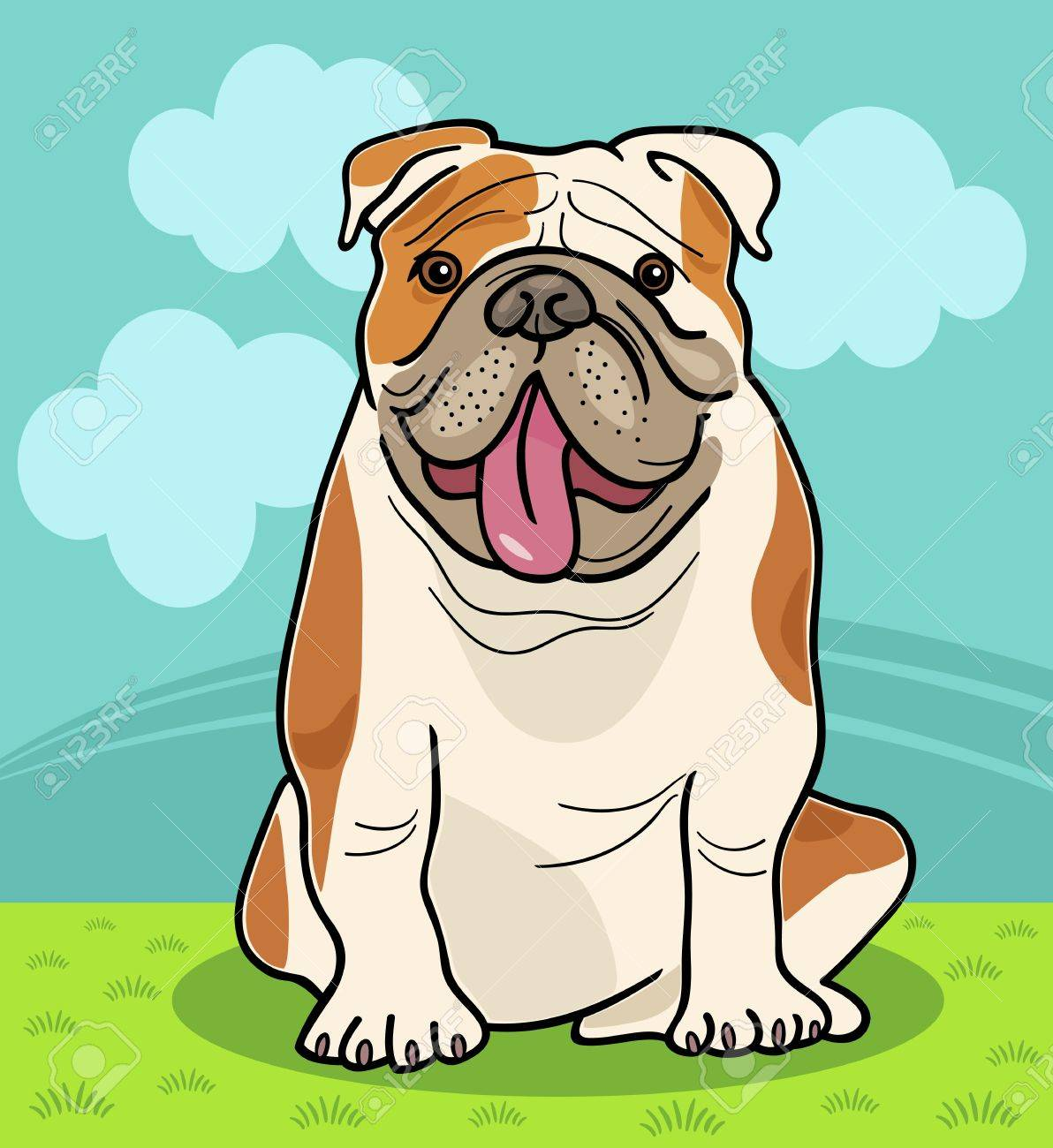Cartoon Illustration of Funny English  Dog against Sky with Clouds Stock Vector - 16789720