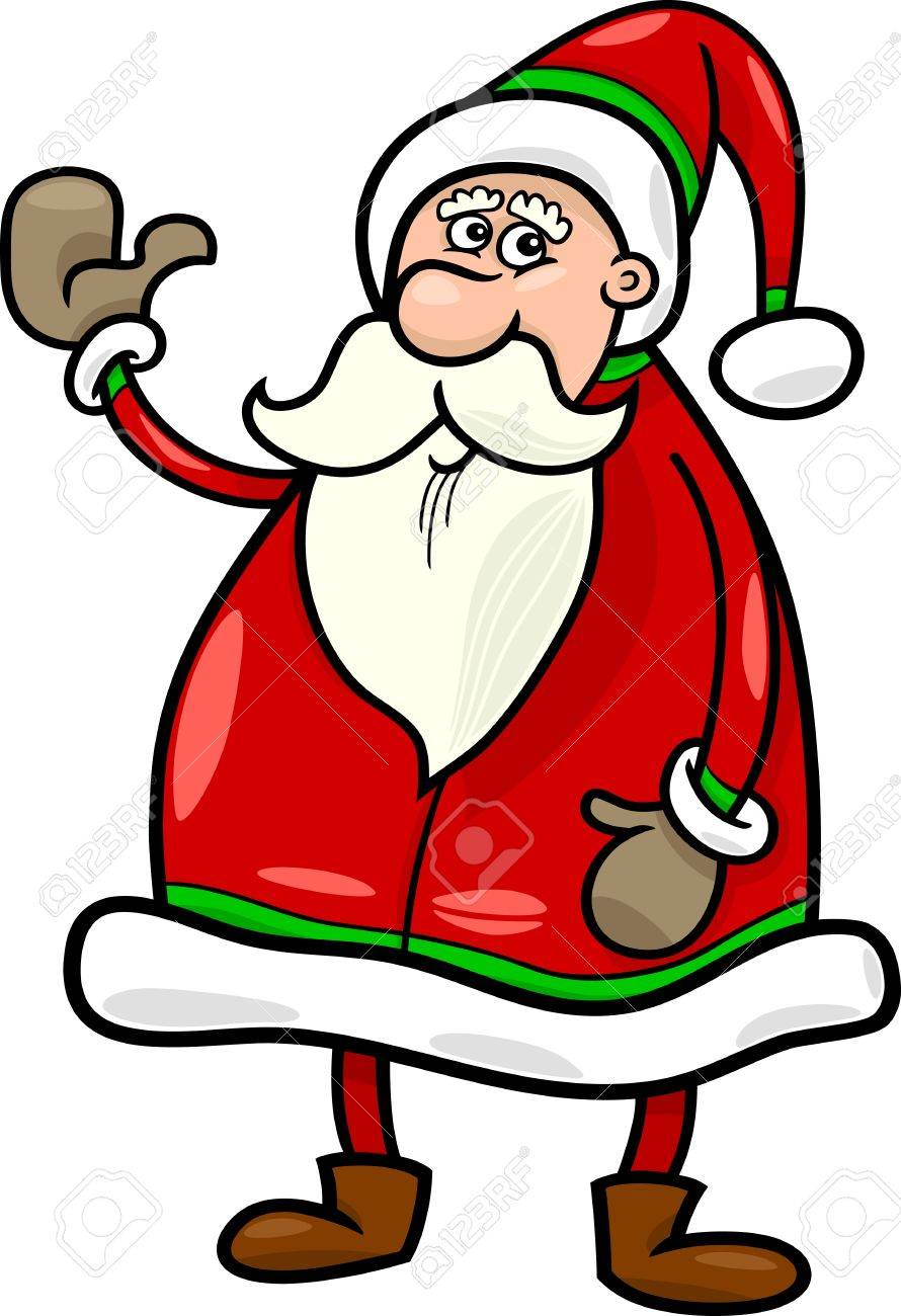 cartoon illustration of funny santa claus or papa noel or father