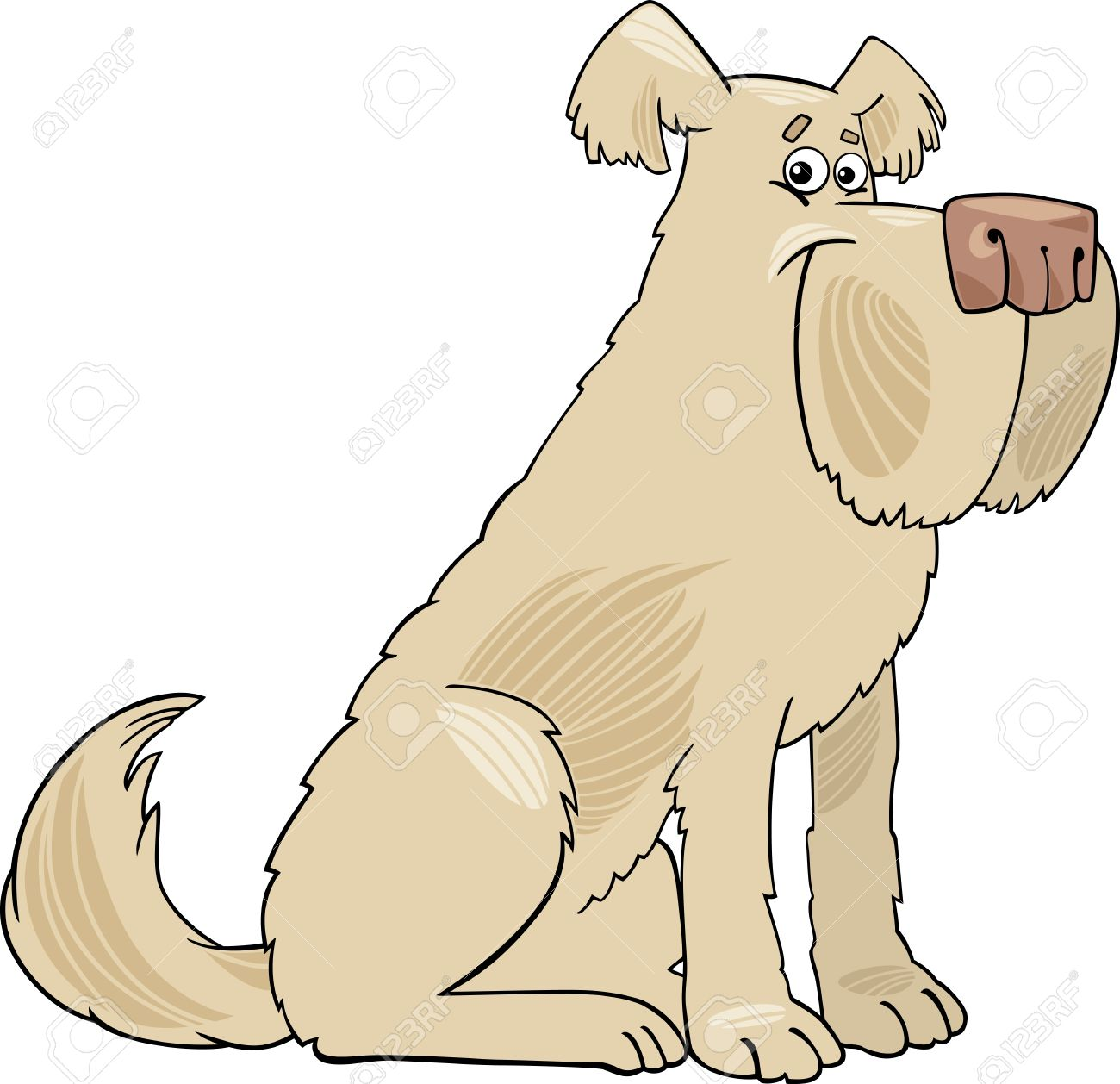 Cartoon Illustration of Funny Shaggy Beige Sheepdog Dog Stock Vector - 16789725