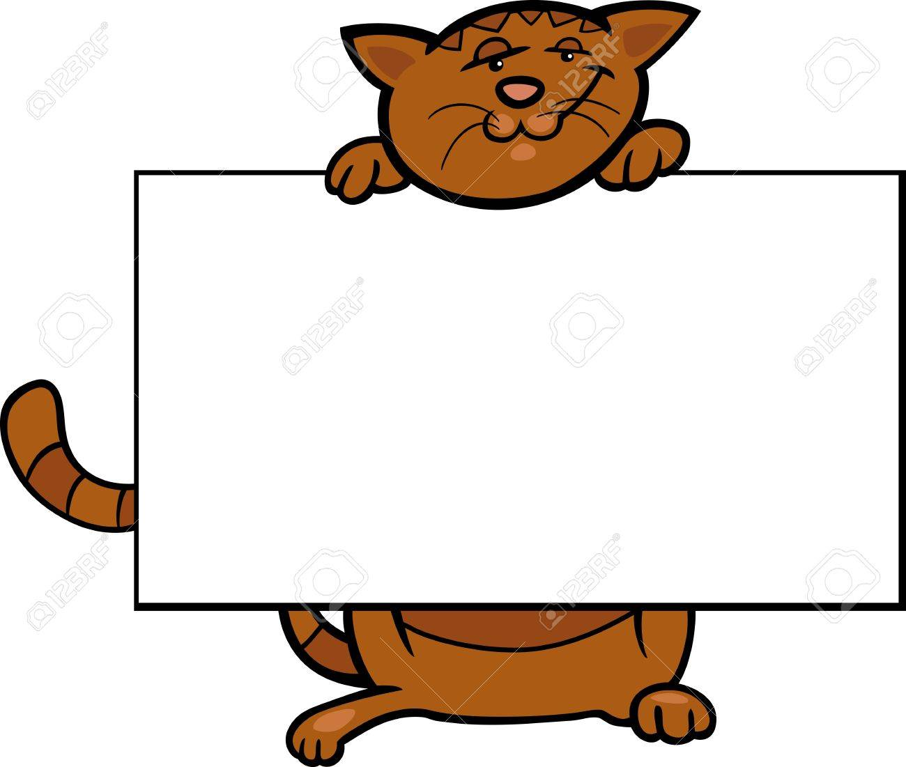Cartoon Illustration of Funny Cat with White Card or Board Greeting or Business Card Design Isolated Stock Vector - 16789756