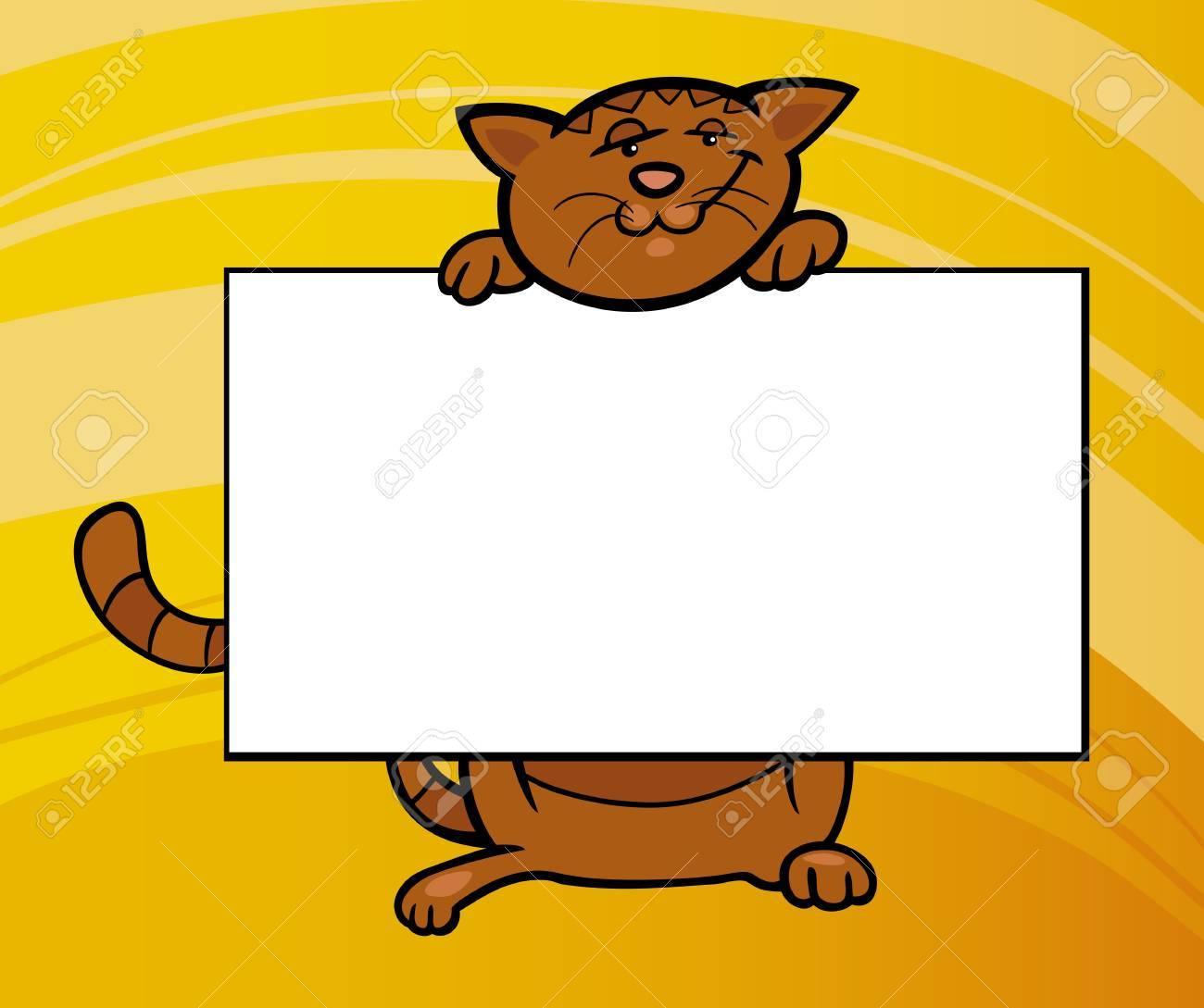 Illustration De Dessin Anim Chat Drle Avec Carte Voeux Ou