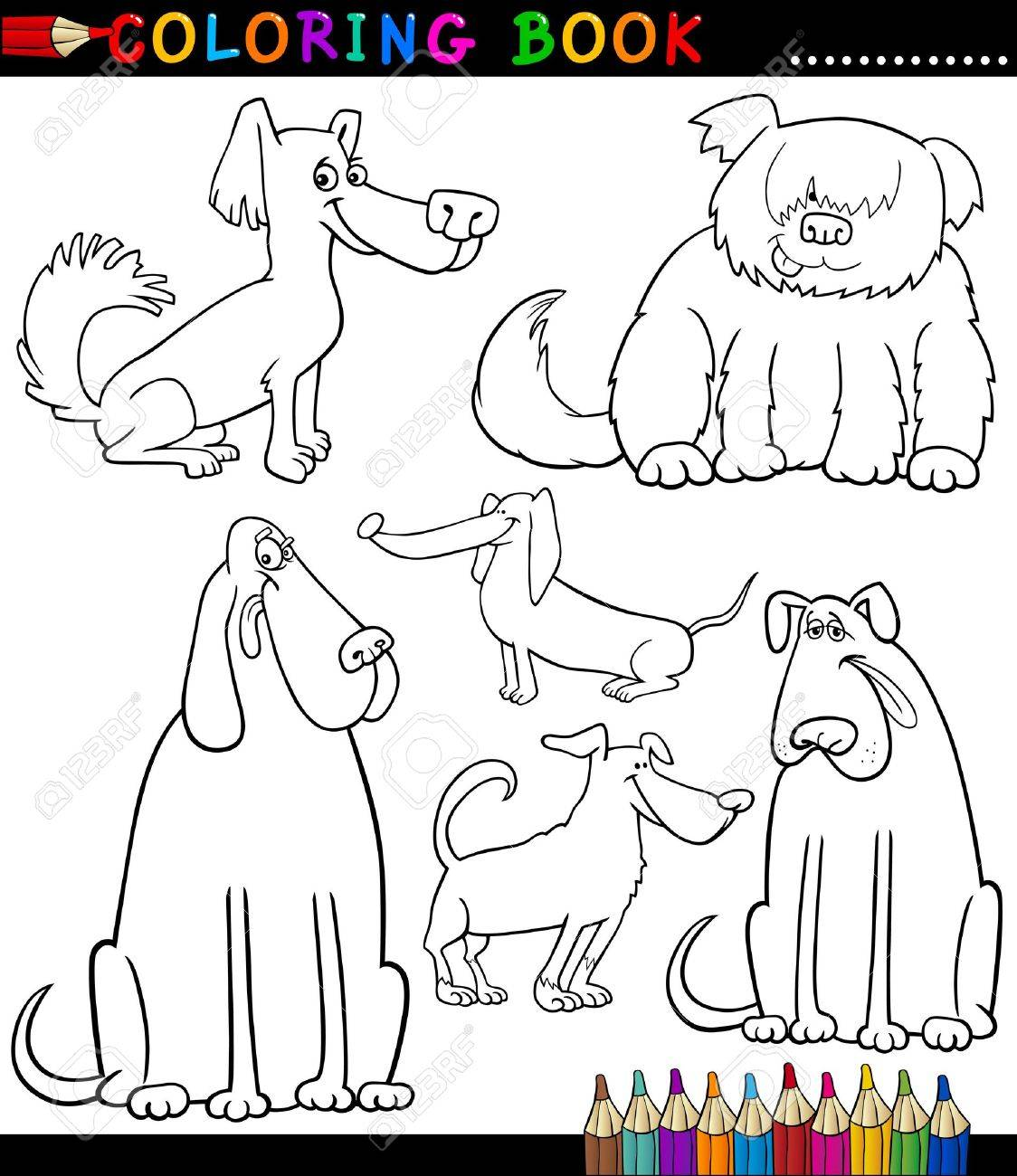 Coloring Book Or Page Black And White Cartoon Illustration Of Funny Purebred Mongrel Dogs
