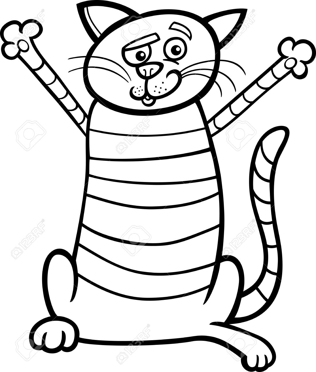 Black And White Cartoon Illustration Von Happy Tabby-Katze Für ...