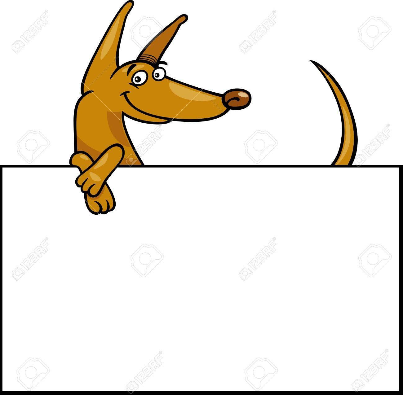 Cartoon Illustration Of Funny Dog With White Card Or Board ...