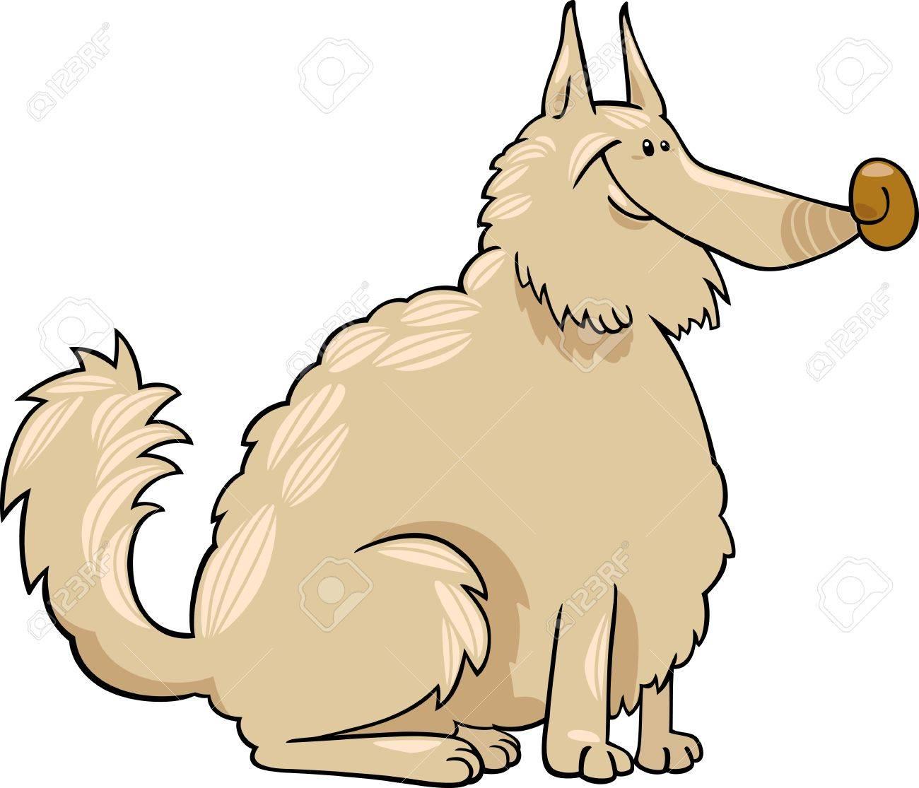 Cartoon Illustration of Shaggy Purebred Eskimo Dog or Spitz or Sheepdog Stock Vector - 17087918