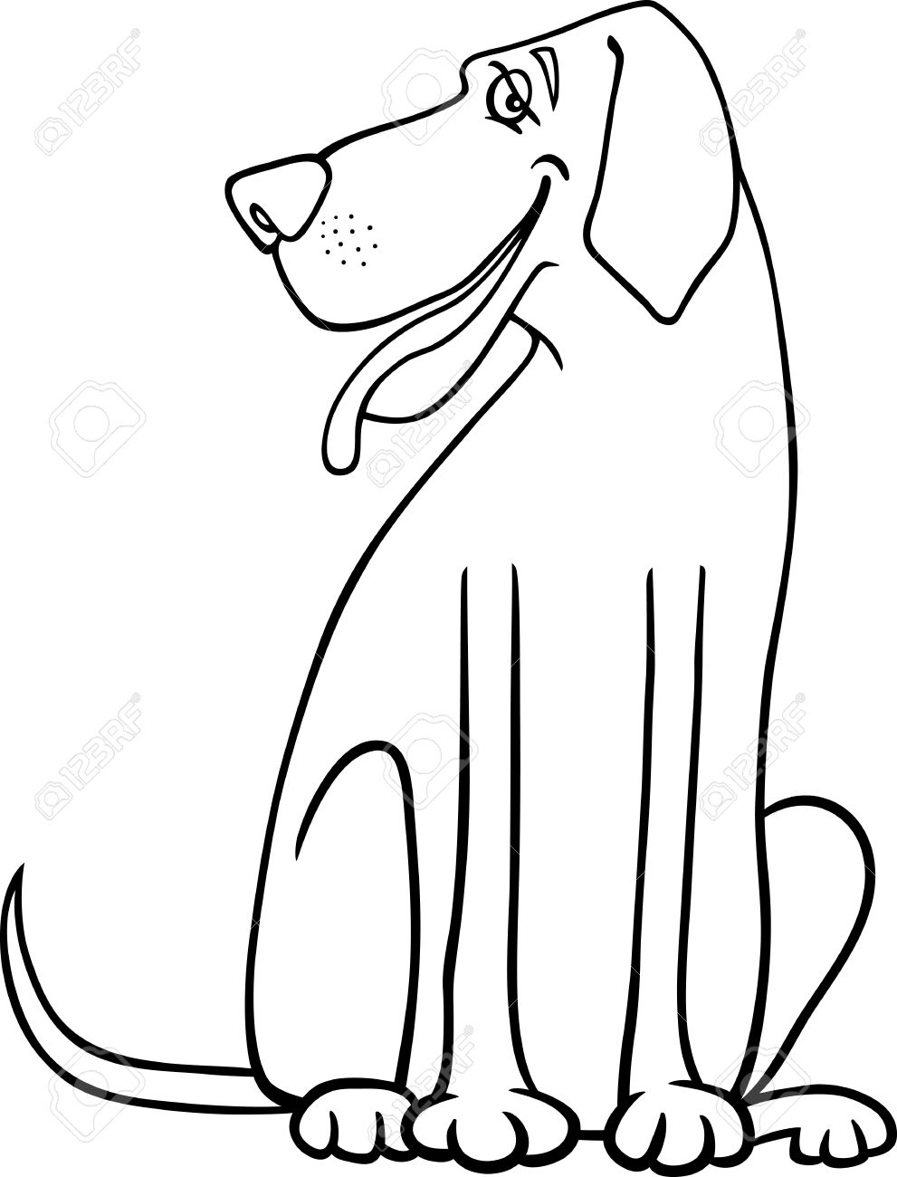 Black and White Cartoon Illustration of Funny Great Dane Dog for Coloring Book or Coloring Page Stock Vector - 17087942