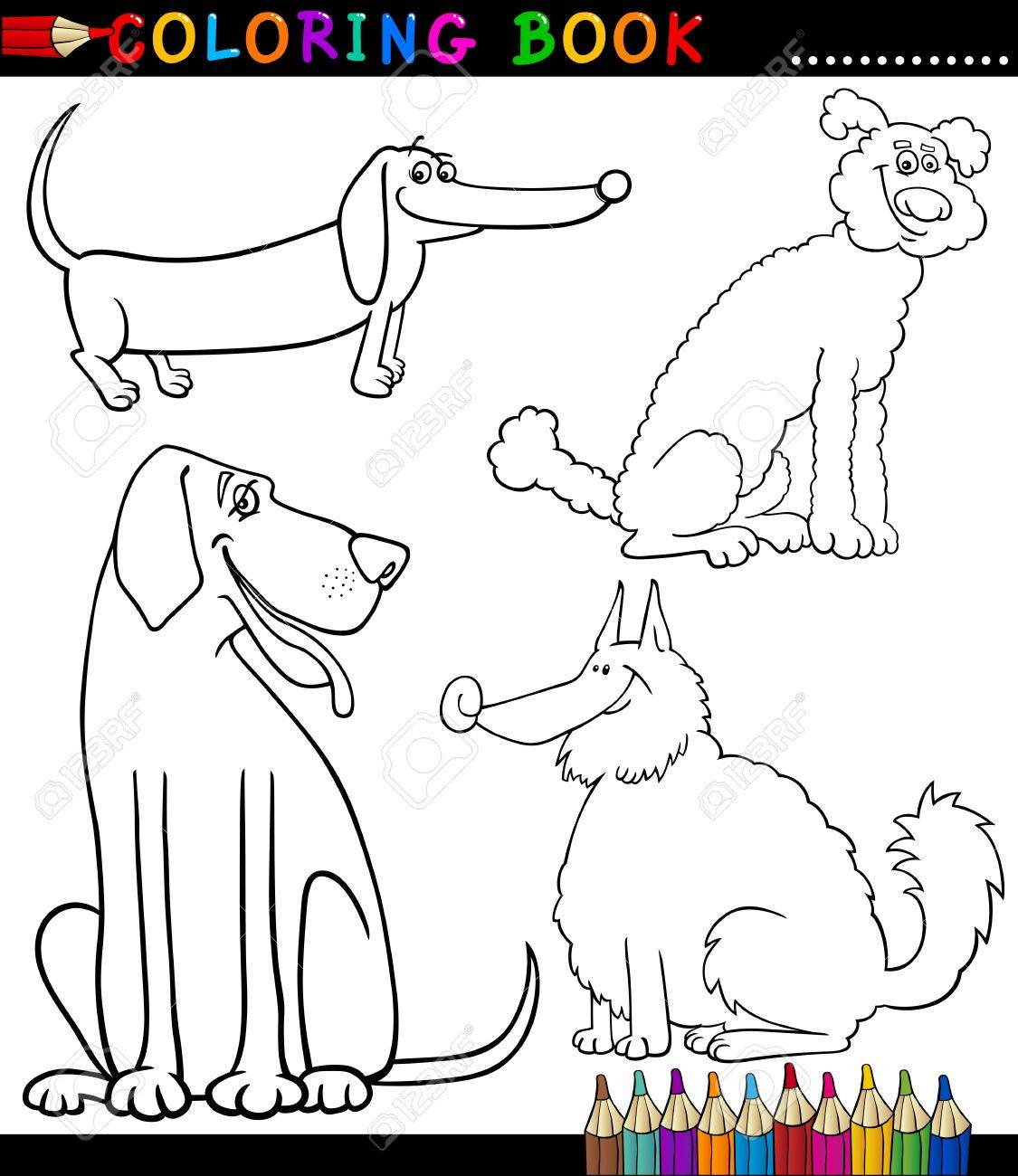 Coloring Book or Coloring Page Black and White Cartoon Illustration of Funny Purebred or Mongrel Dogs Stock Vector - 17120401