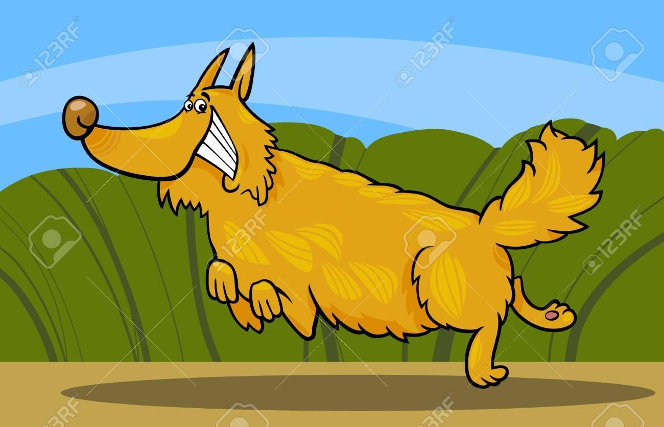 Cartoon Illustration of Funny Running Shaggy Dog against Rural Scene Stock Vector - 17147509
