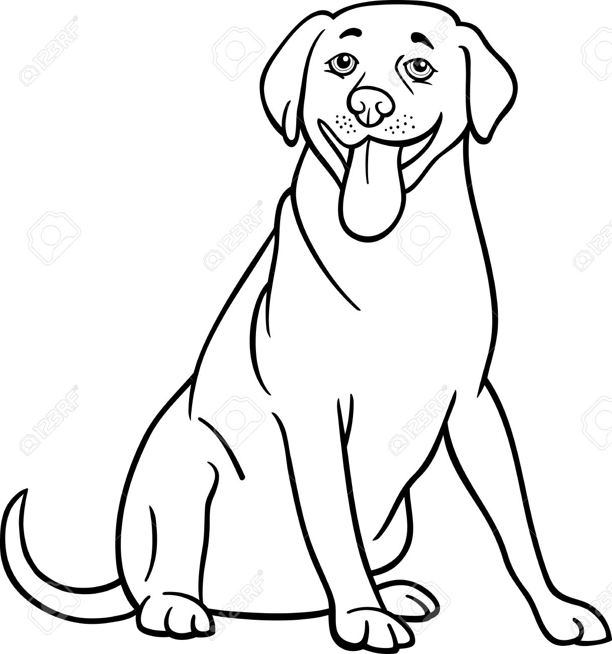 Black and white cartoon illustration of funny labrador retriever dog for coloring book stock vector