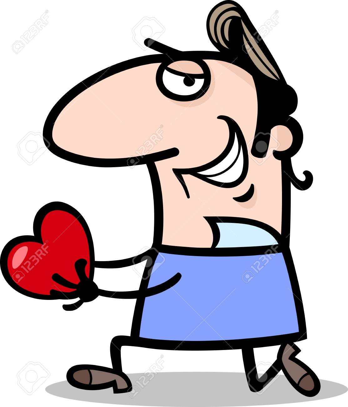 cartoon st valentines illustration of funny man in love giving
