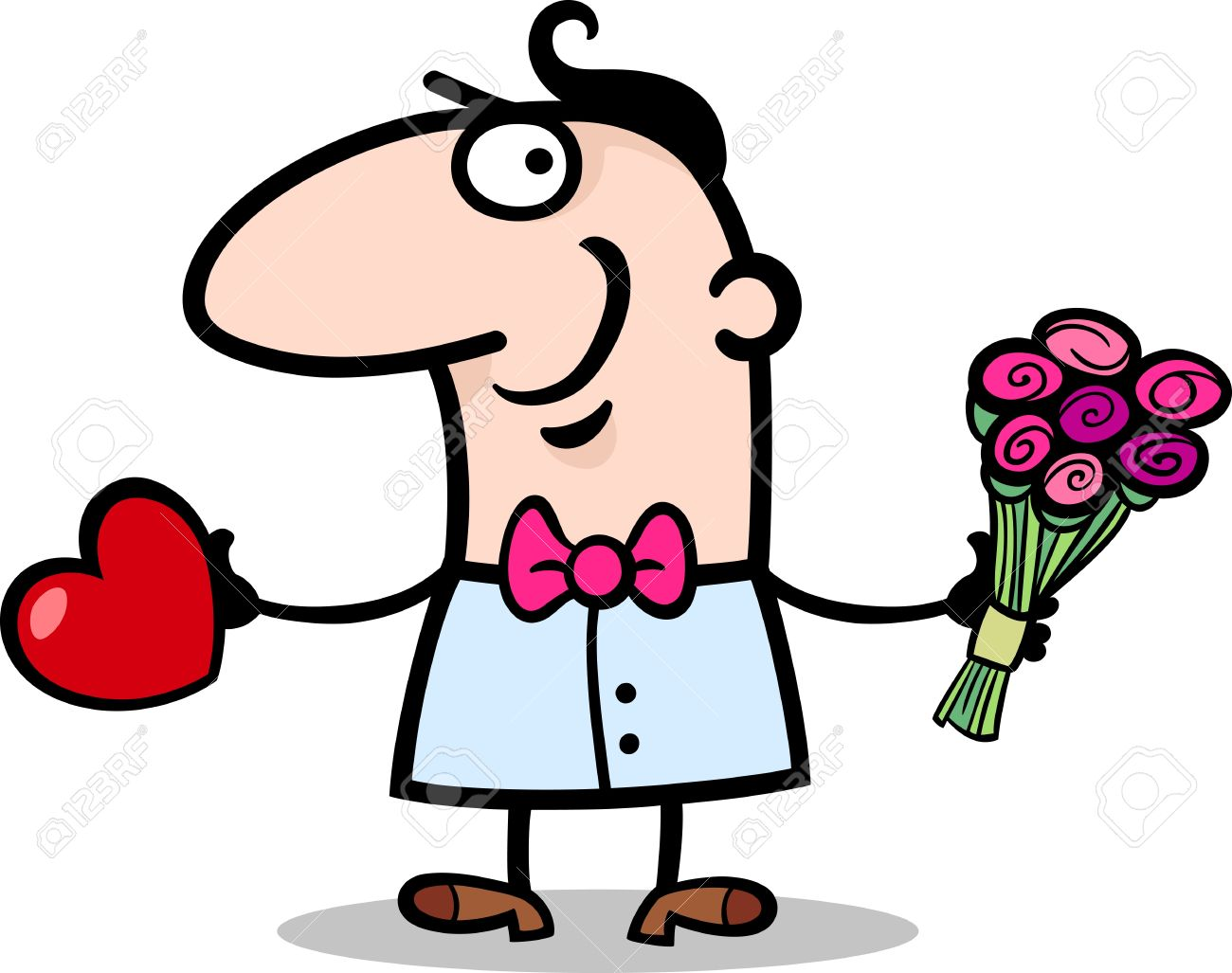 cartoon st valentines illustration of happy funny man in love