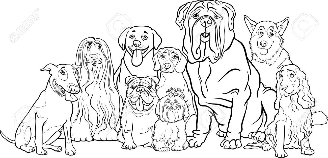 面白い純血種の犬の子犬のまたはグループ塗り絵の黒と白の漫画イラストの