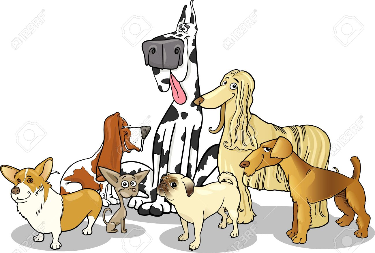 cartoon illustration of cute purebred dogs or puppies group royalty rh 123rf com free clipart of dog balloon in parade free clipart of dogs black and white